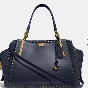 Coach Dreamer 36 Mix Leather Midnight Navy Rivets